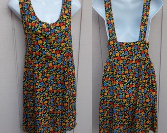 Vintage 90s Floral Rayon Empire Waist Mini Dress / Long Smock Overalls Tunic // Sz Sml - Med