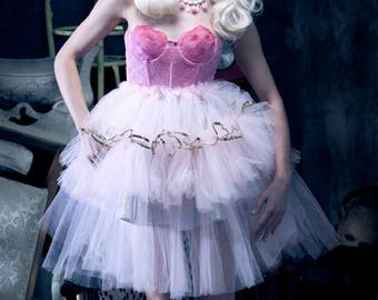New York Couture One of a Kind *Custom Made* PINK HEARTS Ballerina Bustier PARTY Dress