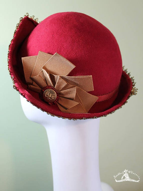 Red Wool 3-Point Women's Cloche Hat - 30s Hat - 20s Hat - Vintage Inspired Cloche