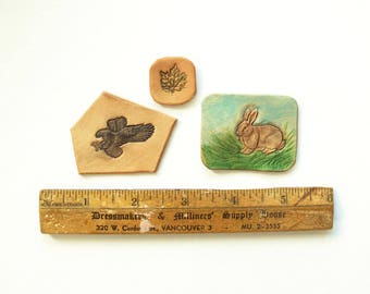 Three handmade tooled leather patches eagle leaf and rabbit for your creative projects