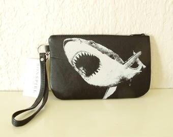 Shark Wristlet Black Leather Clutch Recycled Screenprinted