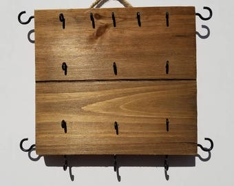 Wood Jewelry Rack Earring Holder Necklace Hooks
