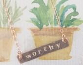 Custom Hand Stamped Rose Gold Filled Bar Necklace
