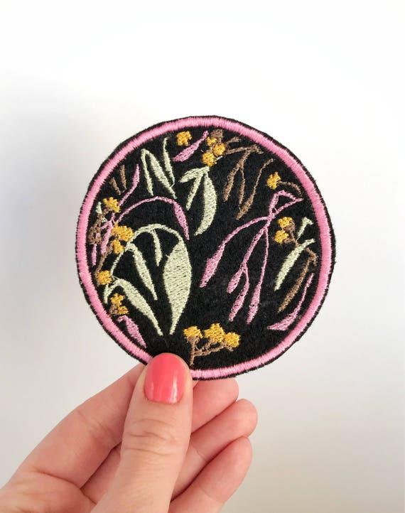 midnight garden art patch. abeadles. iron on plant patch. floral jacket patch. black floral patch. fern patch. garden gift. garden patch.