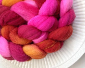 4.2 oz. Hand Painted Superwash Merino Roving