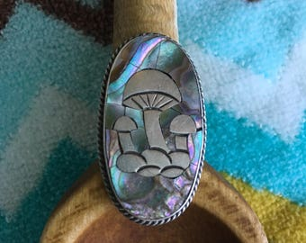 70s Vintage Mexican Silver Mushroom Ring Allman Brothers Mushrooms Sterling Magic