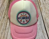 """Toddler/Kids Girl's Trucker Hat- pink with """"Al..."""
