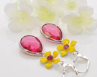 Yellow Flower Pink Crystal Earrings Spot of Sunshine- Crystal Earrings - Flower Earrings -Gift for Her -Floral Earrings - Earrings Gift
