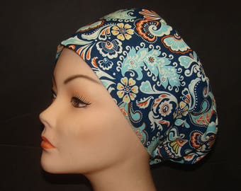 Euro Close Fit Women New Floral Pirouette Medical Surgical Scrub Hat Vet Nurse Chemo