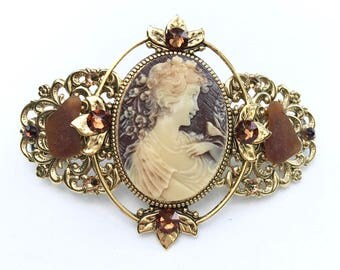 Cameo Hair Barrette Brown and Creme with Beach Glass and