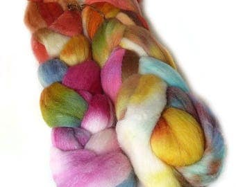 MERINO SILK BAMBOo roving top handdyed spinning fibre 3.6 oz