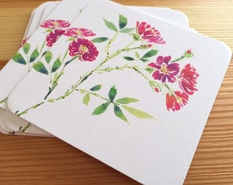8 Watercolor Floral Coasters - Miniature Roses Thick Paper Drink Coasters - Pink Flowers Drink Coasters - Decorative Floral Coasters