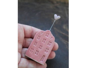 Ceramic Miniature Pink House with Lavender Heart - Ready to Ship for !- Mother's Day