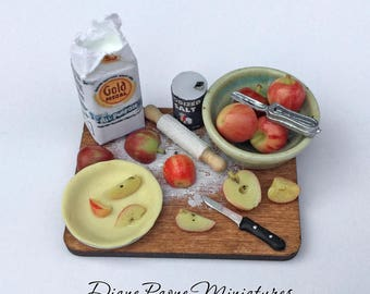 Making Homemade Apple Pie Preparation Board - IGMA Artisan Diane Paone Dollhouse Miniature Food