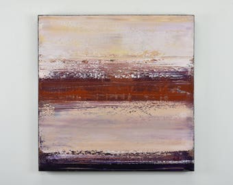 ORIGINAL Abstract Painting on Canvas, Archaean by Lisa Carney, Contemporary Landscape Art, Pink, Purple, Rust, Minimalist, Modern