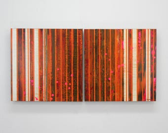 "ORIGINAL Abstract Painting ""Marmalade"" by Lisa Carney, Modern Art, Minimalist Painting, Stripes, Organic, Geometric, Contemporary, Diptych"