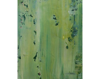 Colorfield Abstract Art - Scrape build up painting on wood panel - Corroding Moss - layered acrylic in moss green - Industrial wall decor