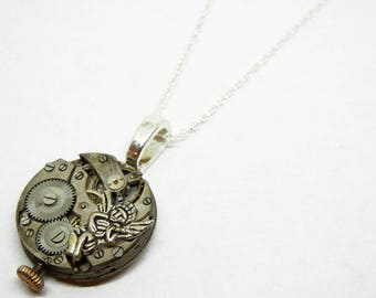 Steampunk Guardian Angel Pendant - Vintage Old Watch Altered Mixed Media Slide Jewelry with Necklace