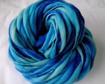Handspun merino yarn, thick and thin yarn, LAGOON II, super bulky yarn, dolls hair, dreads, giant knitting, blue yarn, water, 60yds, 3.5oz