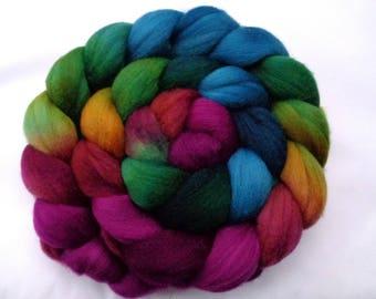 4.4oz, merino wool roving, hand dyed merino roving, felting wool, spinning fiber, merino roving, combed top, teal, green,purple,21 mic, 125g