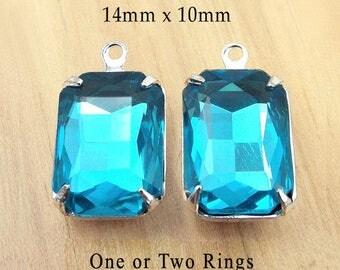 Aqua Glass Beads - 14x10 Octagon - Aqua Earrings or Pendants - Set Stones - Glass Gems - Jewelry Supply - One Pair
