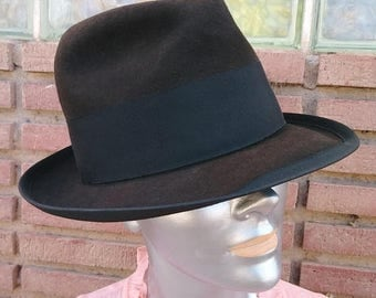 ON SALE Vintage 1950s Hat Mens Fedora Wool Brown Sz S 6.75  Unisex 50s Champ Walter White