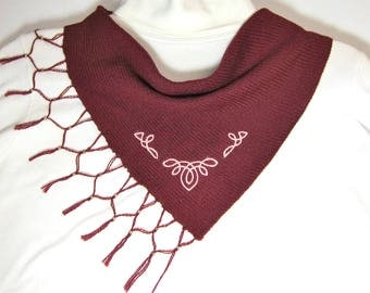 Scarflette, Hand Knit Celtic Burgundy