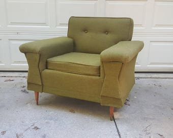 mid century modern green tufted upholstered square lounge club armchair