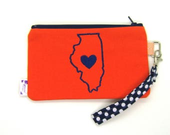 Clearance - Sale - Gift - Gracie Designs Wristlet - Illinois Love in navy and orange