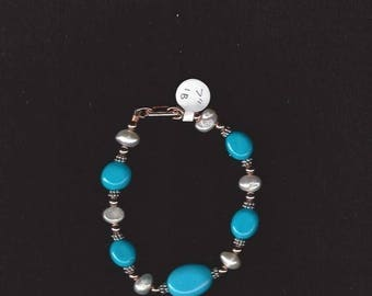 ON SALE Turquoise and Freshwater Pearl Bracelet