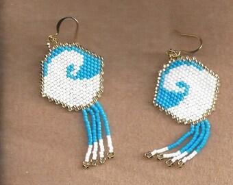 ON SALE MTO, Ocean Wave Seed Bead Earrings,Sea Wave Seed Bead Earrings,Made To Order Earrings,Seed Bead Earrings, native American Made Earri