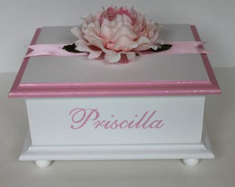Baby Keepsake Box Baby Memory Box pink peony personalized hand painted baby girl gift fairy dust
