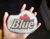 Labatt Blue Patch ~ Iron-on Patch ~ One of a Kind Patch ~ Beer Patch ~ Repurposed Patch