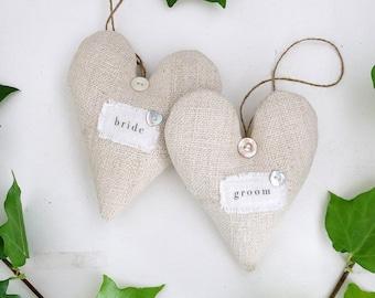 Vintage Grain Sack Lavender Sachet Hearts, Bride & Groom Decor