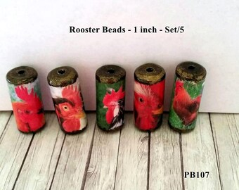Rooster Chicken Beads -  Handmade Paper Tube Beads - - Set/5 -  PB107