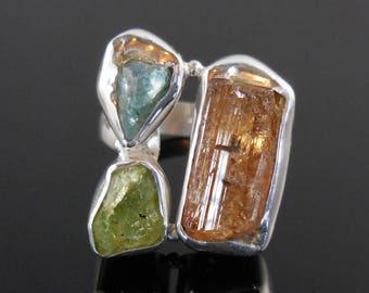 Tourmaline, apatite, and peridot (rough) gemstone sterling silver ring - size 7.75