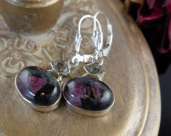 Russian eudialite & herkimer diamond (quartz) sterling silver earrings