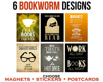 6 Bookworm Stickers, Magnets, or Postcards. Gift for Readers. Geeky Stationary. Tea and Book Lovers, Book Illustrations and Quotes