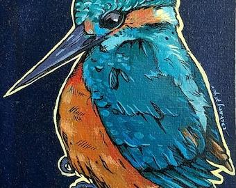 L'il Lard Butt Series - small fat kingfisher bird painting on violet wood