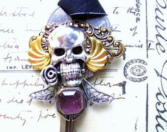 steampunk key necklace-FREE SHIPPING-steampunk jewelry-skull-amethyst  necklace-decorated key-giving key necklace-charm necklace-necklace