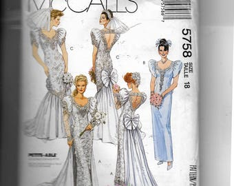 McCall's Misses' Bridal Gowns and Bridesmaids' Dress Pattern 5758