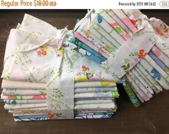 SALE- Reclaimed Bed Linens Fat Quarter Bundle-Flower Power