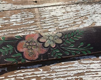 Leather Art Cuff-Create Your Own-Hand Painted Floral Leather-Word Cuff-