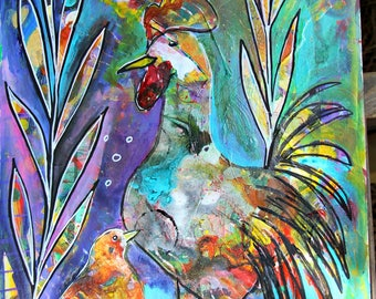 Original Intuitive Painting Rooster Farm ARt by Carol Iyer