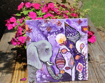 Original Elephant Boho Wall Decor Intuitive Painting Healing Art by Carol Iyer