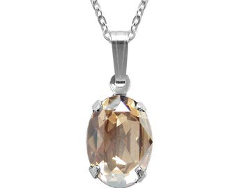 Swarovski Crystal Oval Pendant Necklace Sterling Silver Golden Shadow or CHOICE OF COLOURS