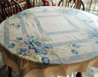 Vintage Tablecloth Blue Tulips with Daisies 46 x 53 inches