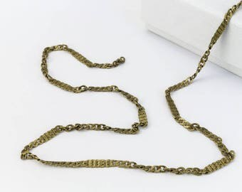 Antique Brass 2.3mm Squashed Curb Chain #CC113