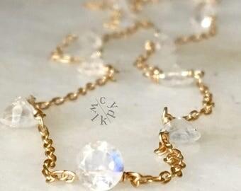 Dainty Rainbow Moonstone Choker Necklace, Moonstone Gold Choker Necklace, Gemstone Necklace, Minimalist Necklace