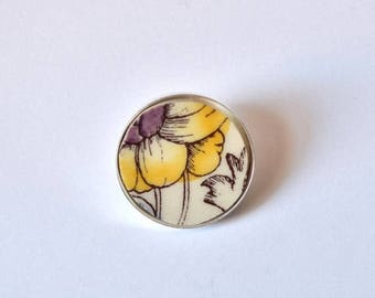 SUMMER SALE Recycled China Simple Circle Brooch - Yellow and Purple Flower - Scarf Pin